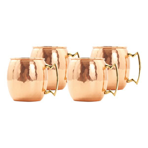 Copper 16 Ounce Hammered Mule Mugs, Set of Four