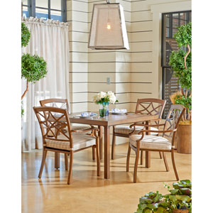 Outdoor 42-inch Dining Table with 4 Dining Chairs in Espadrille Driftwood