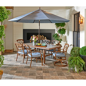 Outdoor Dining Set in Demo Denim with 9 ft. Umbrella