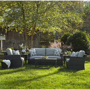 Outdoor Cascade 6-Piece Brown Wicker Set with Climaplush™ Cushions and Dune Arm Pillows