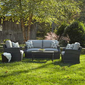 Outdoor Cascade 4-Piece Brown Wicker Set with Climaplush™ Cushions and Dune Arm Pillows