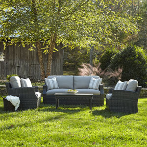 Outdoor Cascade 4-Piece Brown Wicker Set with Climaplush™ Cushions and Tan Arm Pillows