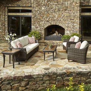 Outdoor Sycamore 6-Piece Brown Wicker Set with Climaplush™ Cushions and Garn Arm Pillows
