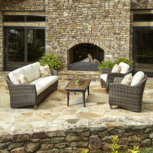 Outdoor Sycamore 4-Piece Brown Wicker Set with Climaplush™ Cushions and Sund Arm Pillows