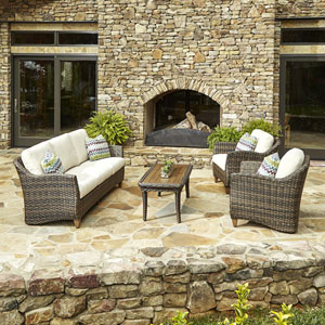 Outdoor Sycamore 4-Piece Brown Wicker Set with Climaplush™ Cushions iand Amaz Arm Pillows