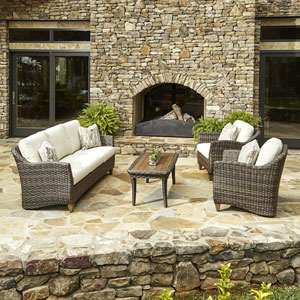Outdoor Sycamore 4-Piece Brown Wicker Set with Climaplush™ Cushions and Dese Arm Pillows