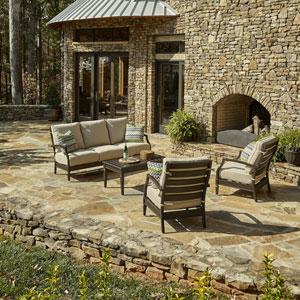 Outdoor Cerissa 4-Piece Brown Aluminum Set with Climaplush™ Cushions and Amaz Arm Pillows