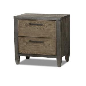 Jaxson Charcoal Poplar Oak and Metal Nightstand