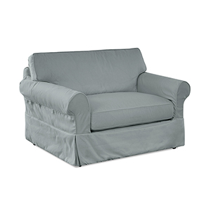 Olivia Spa Blue  Down Blend Slipcovered Chair