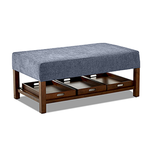 Pearson Denim Rectangular Ottoman with Removable Trays