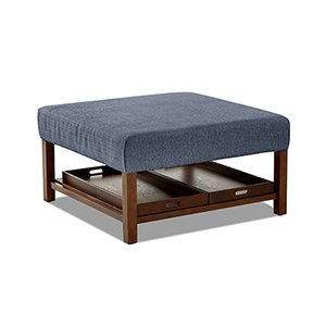 Pearson Denim  Square Ottoman with Removable Trays