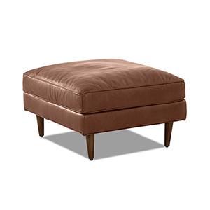 Malcolm Chestnut Leather Down Blend Ottoman