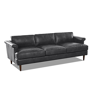 Malcolm Charcoal Leather Down Blend Sofa