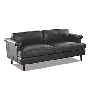 Malcolm Charcoal Leather Down Blend Studio Sofa
