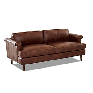 Malcolm Chestnut Leather Down Blend Studio Sofa