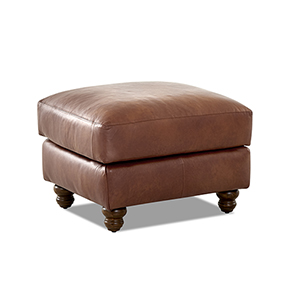 Winston Chestnut Leather Down Blend Ottoman