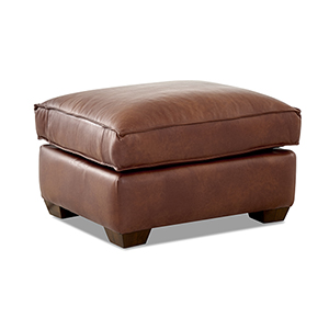 Drake Chestnut Leather Down Blend Ottoman