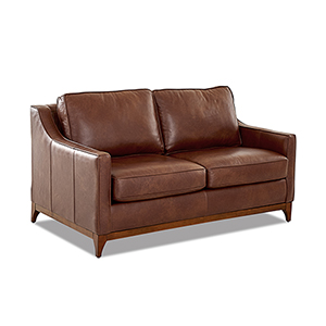 Ansley Chestnut Leather Wood Base Loveseat