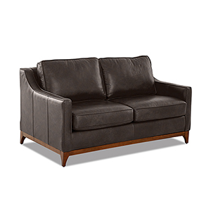 Ansley Driftwood Leather Wood Base Loveseat
