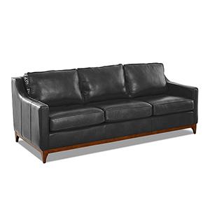 Ansley Charcoal Leather Wood Base Sofa