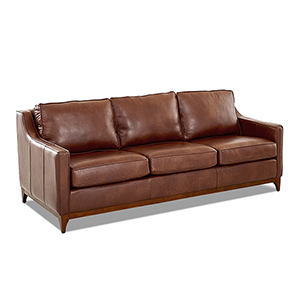 Ansley Chestnut Leather Wood Base Sofa