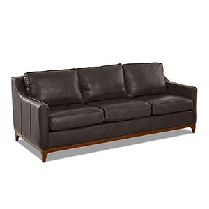 Ansley Driftwood Leather Wood Base Sofa