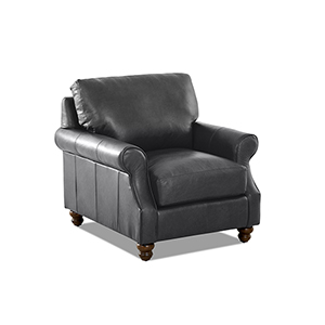 Winston Charcoal Leather Down Blend Chair
