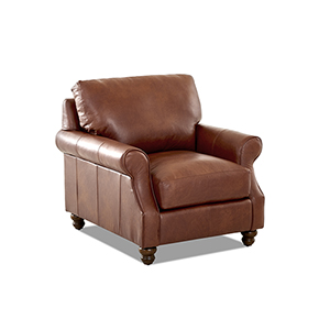 Winston Chestnut Leather Down Blend Chair