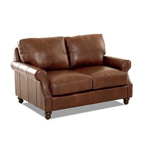 Winston Chestnut Leather Down Blend Loveseat