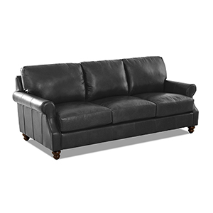 Winston Charcoal Leather Down Blend Oversized Sofa