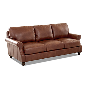 Winston Chestnut Leather Down Blend Oversized Sofa