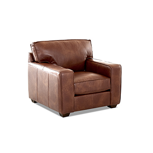 Drake Chestnut Leather Down Blend Chair