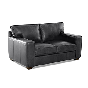 Drake Charcoal Leather Down Blend Loveseat