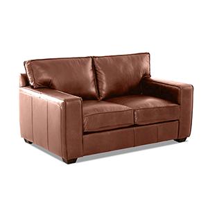 Drake Chestnut Leather Down Blend Loveseat