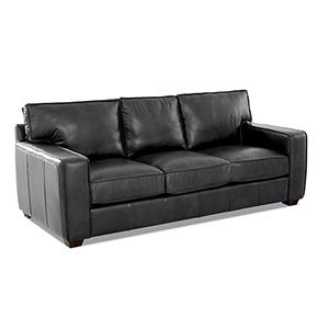 Drake Charcoal Leather Down Blend Sofa