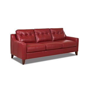 Audrina Leather Sofa, Strawberry