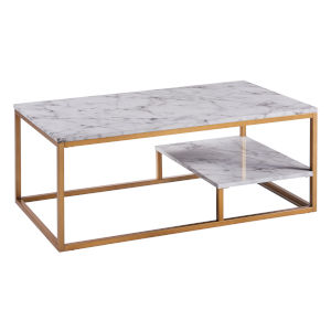 Marmo Faux Marble and Brass Coffee Table