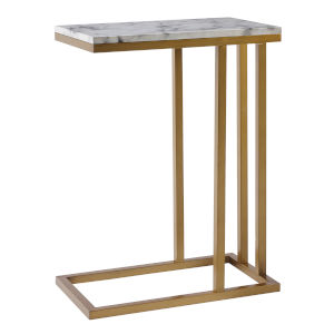 Marmo Faux Marble and Brass C Shape Table