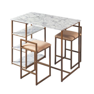Marmo Brass Dining Set with Faux Marble Top