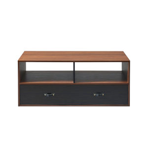 Henry Walnut and Black Coffee Table with Leather Handle