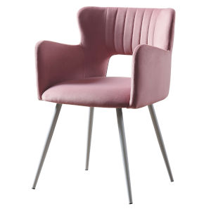 Waverly Pastel Pink and White Armchair with Metal Leg