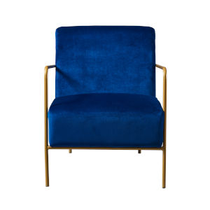 Chelsea Navy Blue and Gold Armchair with Metal Leg