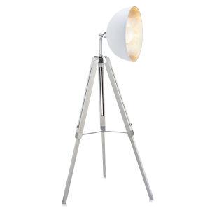 Fascino White and Silver Tripod Floor Lamp