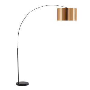 Curvella Copper and Black Arched Floor Lamp
