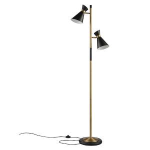 Harper Black and Antique Brass Floor Lamp