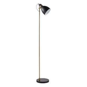 Quincy Black Marble and Antique Brass Floor Lamp