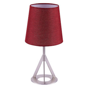 Aria Red and Nickel Brass Accent Table Lamp