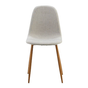 Minimalista White and Wood Grain Chair, Set of 2