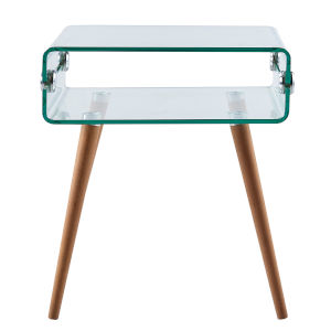 Cassetto Clear Glass and Nature Wood Leg End Table