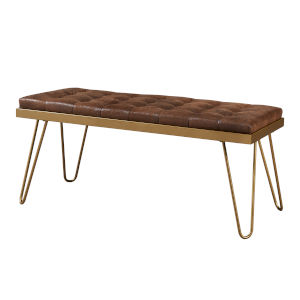 Milford Aged Fabric and Brass Bench
